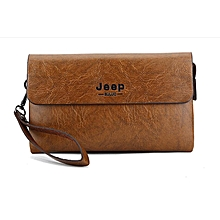 Men Clutch Bag Pu Leather Business Handbags Clutches Fashion Casual Wallet  Man Mobile Phone Bag Brown d903276bdb34c