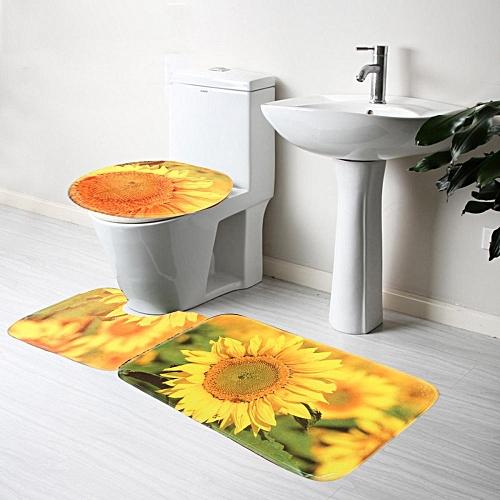 12 Types 2/3pcs Pattern Non-Slip Bathroom Pedestal Lid Mat Toilet Rug Set Carpet