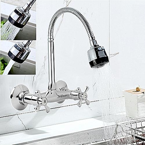 Flexible Spring Kitchen Wall Mounted Sink Spout Faucet Chrome Mixer Tap Sprayer