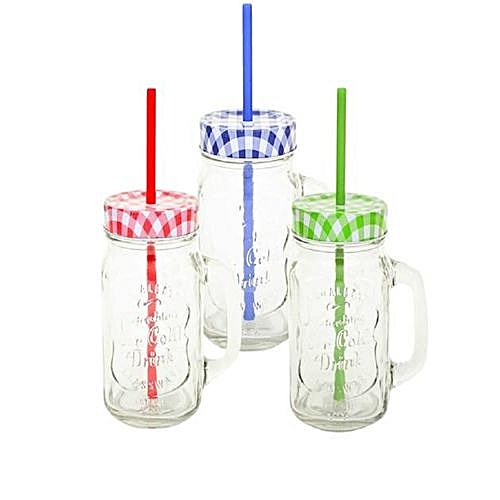 3 Piece Checked Lid And Straw Glass Jar With Handle