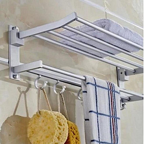 2-Tier 54cm Space Aluminum Wall-Mounted Foldabel Towel Rack With Hooks (Intl)