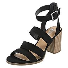 7ee27d26b3ee Women Suede Platform Block Heel Sandal - Black