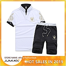 653cebb49b6e1b 2 Piece Set Fashion Men  039 s Short Sleeve Shorts - White Multi