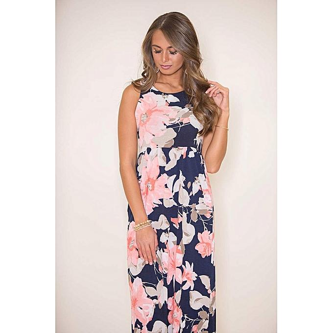 9cbc63cabcf0 ... Summer Bohemian Long Dress Sleeveless Floral Print Dress Female Strap Maxi  Dress