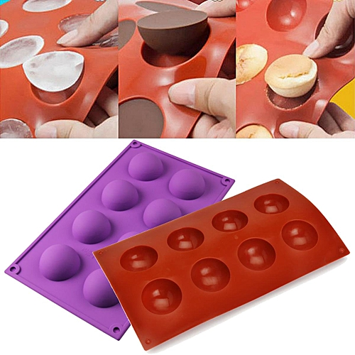 8 Half Ball Sphere Silicone Mold Cake Chocolate Candy Soap Cookie Baking Mould