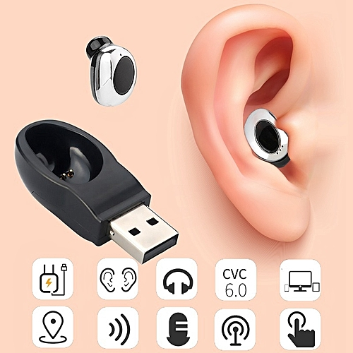 Wireless Bluetooth 4.1 Hidden Mini Earphone In Ear Earpiece Magnet USB Charger Headphone Handsfree With Mic For Smartphone Blue