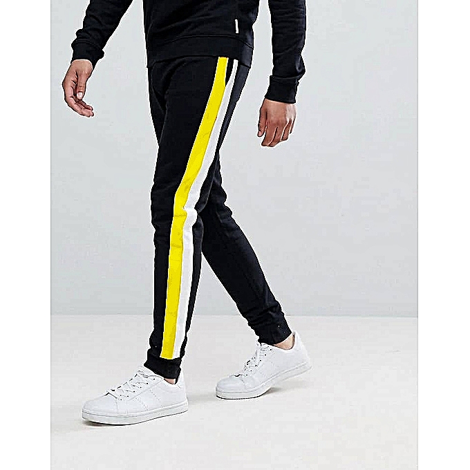5c7567120d691 Mens Workout Causal Joggers Sweatpants With Double Strip White/yellow -  Black
