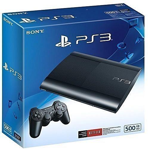 PS3 500GB SUPERSLIM CONSOLE+18 BONUS GAMES *FIFA18+PES18+GTA5+GOW INCLUSIVE
