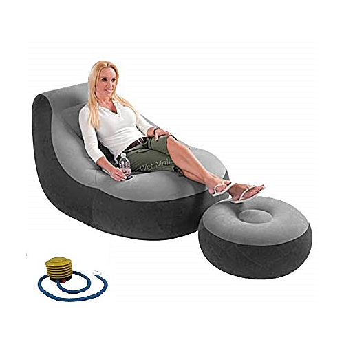 Inflatable Chair With Foot Rest And Manual Pump