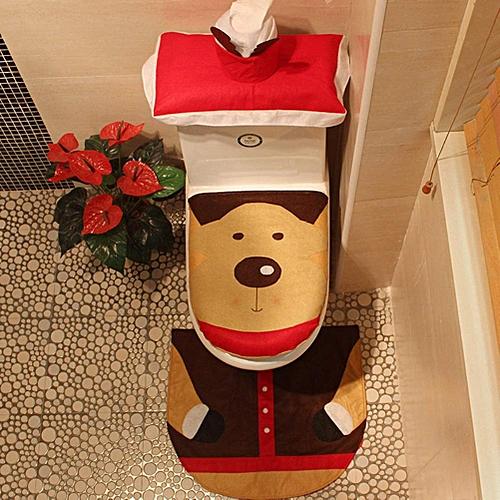 3-Piece Toilet Seat Cover And Rug Set Red Christmas Decorations Bathroom Set Christmas Santa Toilet Seat Cover, Tank Cover, Toilet Cover Rug Set, Christmas Decoration Bathroom Decor Set