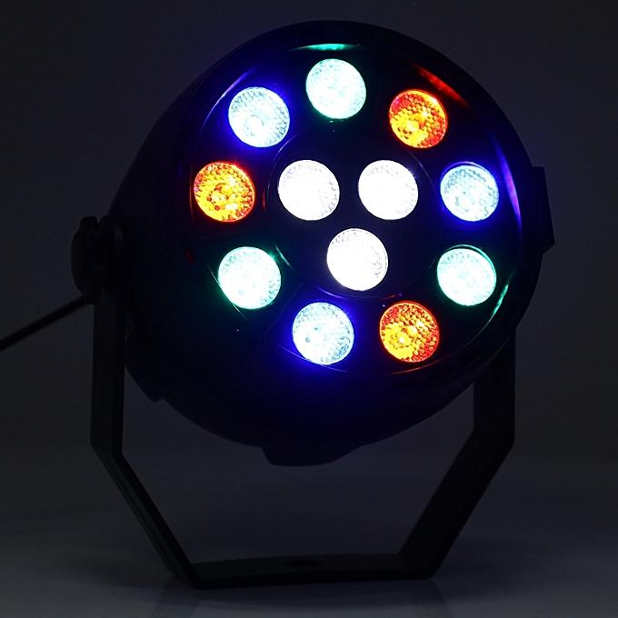 RGBW 12 LEDs Digital Display Par Light Stage Lamp With Remote Controller -  Black