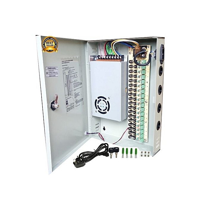 18 Channel CCTV Power Supply DC 12V. With Splitter Fuse Box, Power Cord And