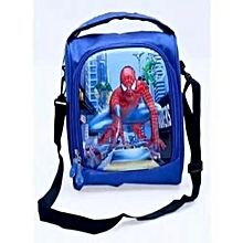Spiderman Superhero Kids Lunch Bag + Handle + Shoulder Carrier - Blue Colour 1dab12a204