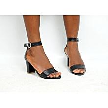 6957b37cc Ladies Ankle Strap Shoes Block Heel Sandal-Black