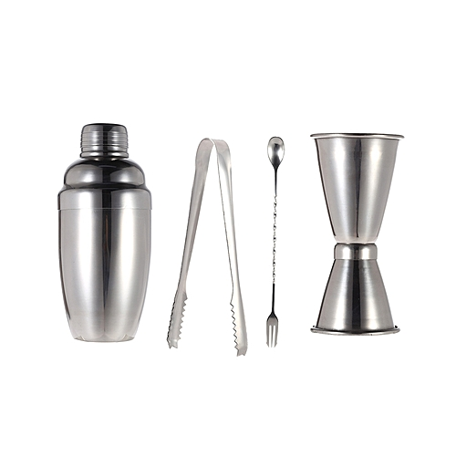4Pcs/Set Stainless Steel Cocktail Mixer Shaker - Silver