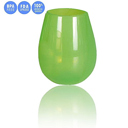 NEW Unbreakable Multi-Use Silicone Wine Glasses Stemless 9 & 12 Oz For Camping Hiking Daily Use (Green, L)