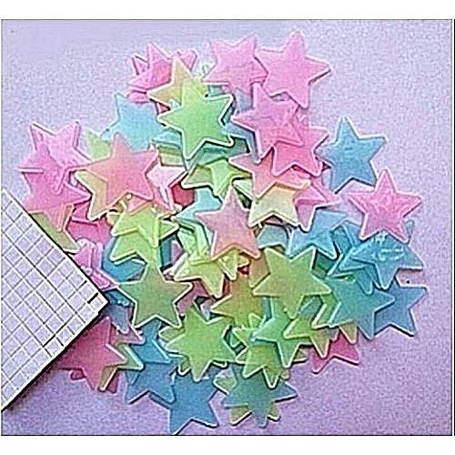 3D Star Glow In Dark Wall Decoration Sticker - 100pcs