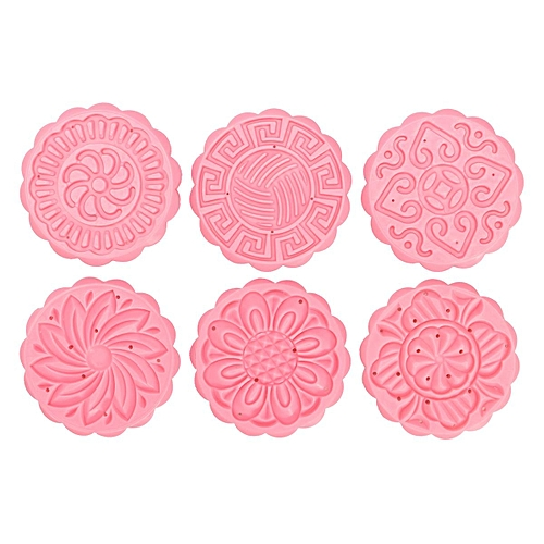Moon Cake Mold With 6 Stamps Mid Autumn Festival DIY Decoration Press