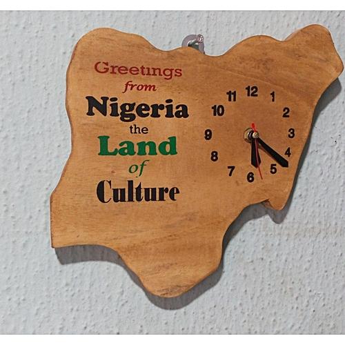 Map Of Nigeria Wall Clock Artwork - Handmade