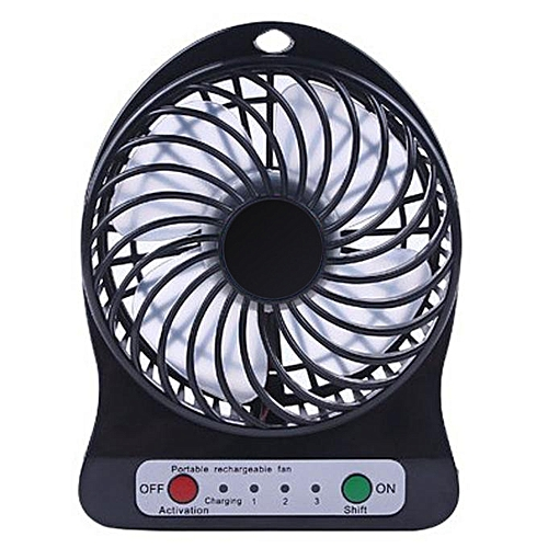 Watermalend Portable Rechargeable LED Fan Air Cooler Mini Operated Desk USB 18650 Battery BK