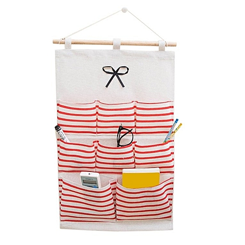 Practical 8 Pockets Sundry Cotton Wall Hanging Organizer Bag Storage Red