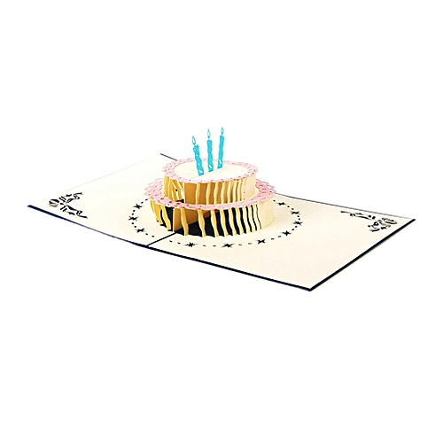 Handcrafted 3D Birthday Card 2 Layers Cake Pop Up Card Hollow Carved Card Blue