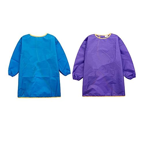 2pcs Children's Mime Cloths - Children's Clothing Coat - Children's Apron - Malschuerze With Long Sleeves - Purple + Blue, S