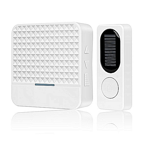 Home-Solar Energy Wireless Doorbell Electric Bell Long Distance Calling Device White