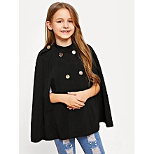 33267fc320d2 Girls Double Button Cloak Sleeve Solid Jacket - Black