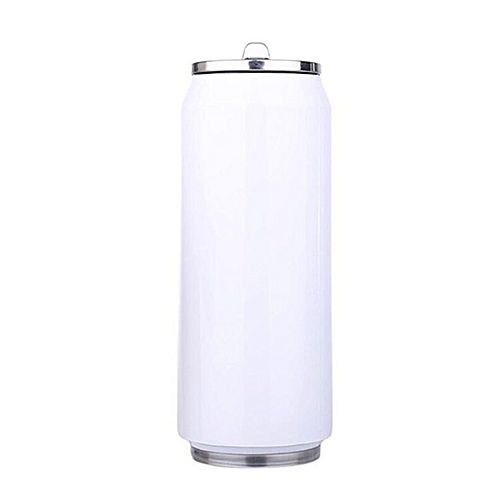 500ml Stainless Steel Insulated Water Bottle Vacuum Flask Mug With Straw White
