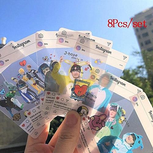 8Pcs/Set Kpop Bt S Bangtan Boys Muster Pvc Transparent Cards Bt 21 Card Fans Gift Collection Party Screenshot Jin V (8.5*5.3Cm)