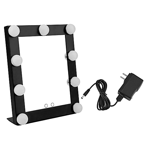 Portable 9 LEDs Bulb Vanity Lighted Makeup Mirror Dimmer Beauty Mirror Black