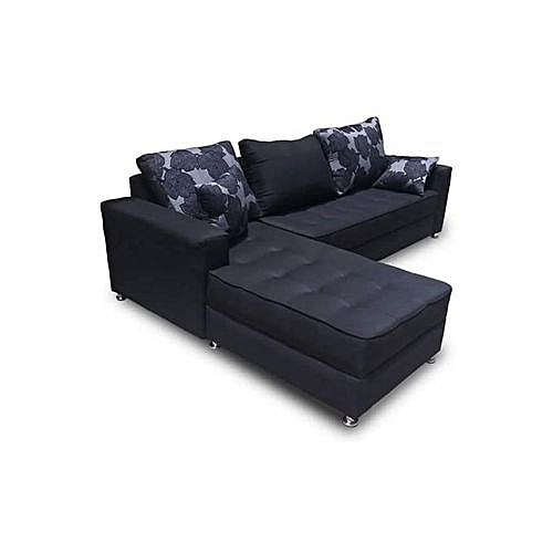 Adorable 5 Seater L-Shaped Fabric Sofa - Black. 'ORDER NOW AND GET FREE OTTOMAN' (Delivery To Lagos Only)