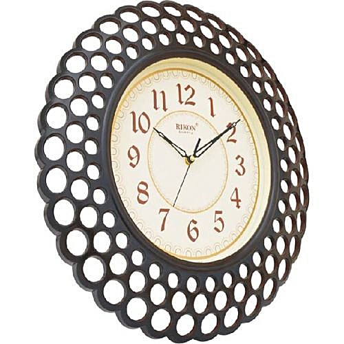 Basket Wall Clock For Homes And Offices - Dark Brown