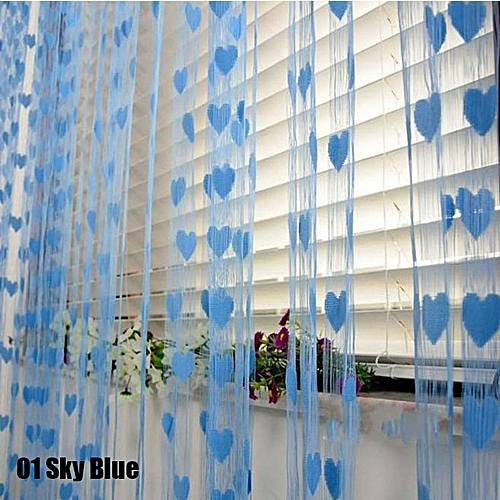 Colorful Romantic Love Pattern Line Curtain - Sky Blue