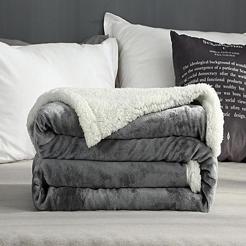 150x200cm Super Soft Blanket Winter Wool Blanket Ferret Cashmere Throw Blanket Gray