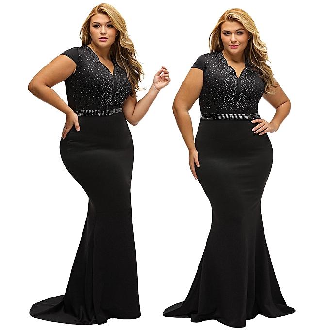 fdb7404d4284e Women Plus Size Dress Rhinestone Scalloped V Neck High Waist Long Gown Big  Size Elegant One