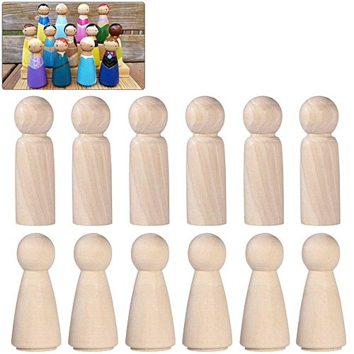 Wooden Peg Doll Unfinished Wooden People Plain Blank Bodies Angel Dolls For DIY Craft Pack Of 20