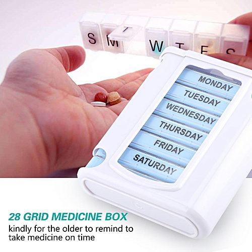 Portable 28 Grid 7 Layers Plastic Medicine Drug Storage Box Travel