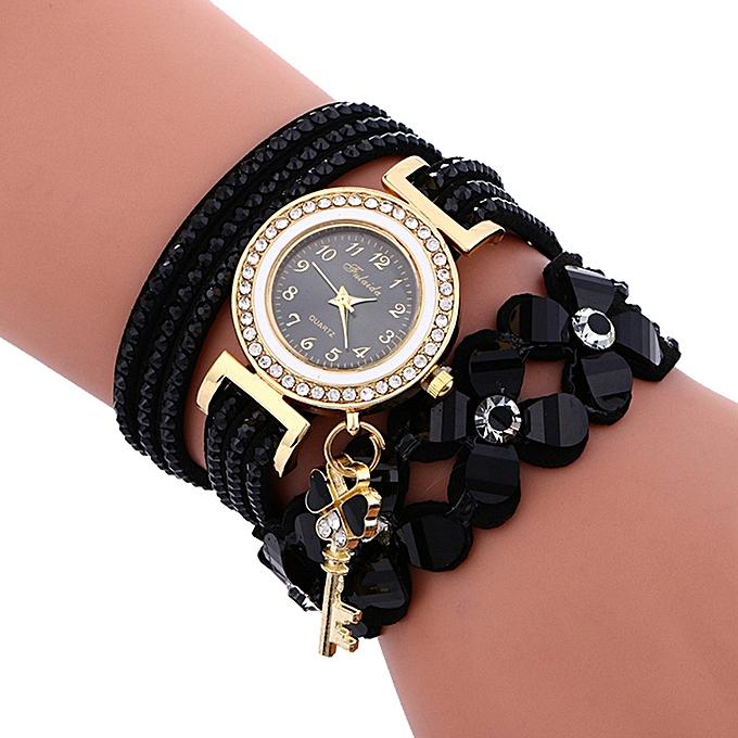 Lady Leather Wrist Watch Fulaida Fashion Chimes Diamond Leather Bracelet Lady Womans Wrist Watch-Black