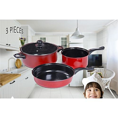 Pot Set 3pcs Cooking Pan With Transparent Cover