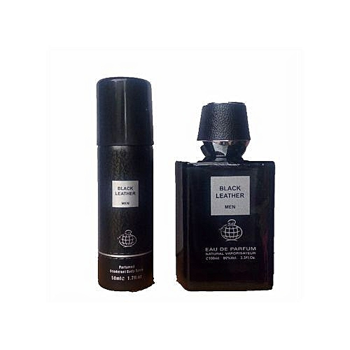 Black Leather Perfume For Men Free Deo Spray Inside