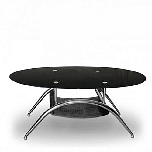 Tempered Glass Oval Center Table-Black