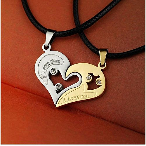 Couple Necklace Heart Studded Pendant - Silver & Gold