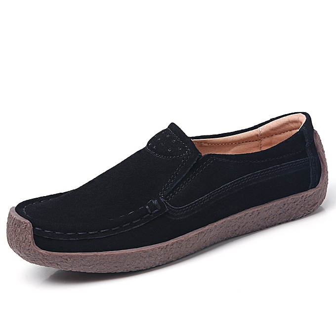3e0422cf911d EUR 35-42 All Season Women Flats Ms Platform Shoes Suede Leather Loafers  Female Casual