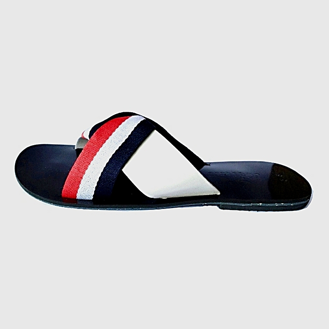 ecf28f97e8c7 JGeTters Contrast Striped Ladies Flat Slippers - Multicolour