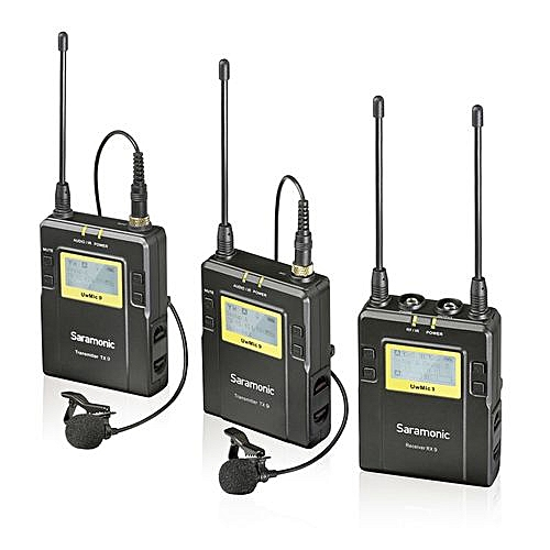 Saramonic UwMic9 96-Channel UHF Wireless Lavalier Microphone System For Interview Podcast Canon Nikon D3300 Pentax Sony A9 DSLR & Camcorders Sony RX0