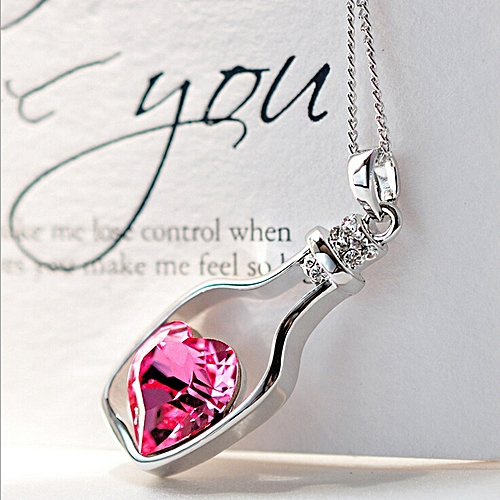 Popular Crystal Necklace Love Drift Bottles Hot Pink