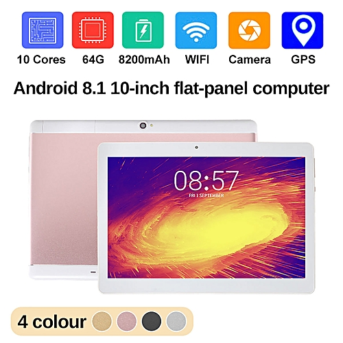 NEW 10.1'' Tablet PC Android 8.0 Octa Core 64GB 10 Inch HD WIFI 2 SIM 3G Phablet-Rose Gold