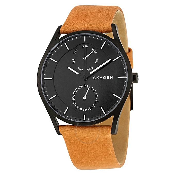 7d8564cc6ea Skagen Holst Multifunction Black Dial Brown Leather Men s Watch ...